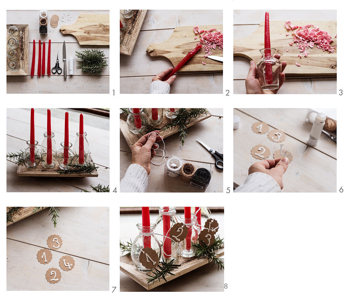 Instructions for making an Advent arrangement of red candles and glass bottles