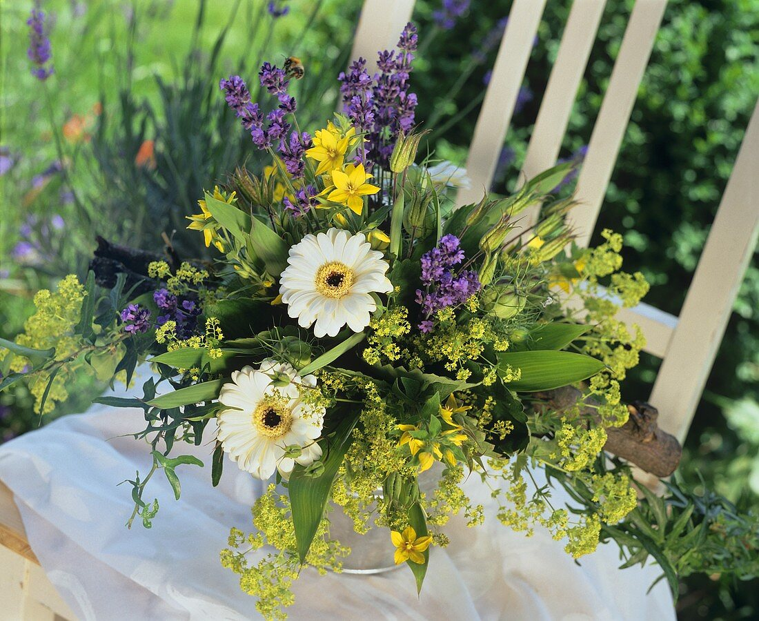 Bouquet of flowers in a zinc container