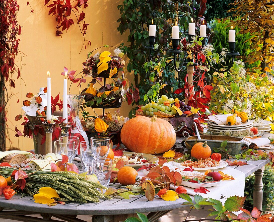 Laid table with autumn theme in open air