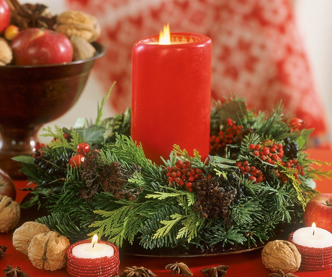 Wreath with red candle