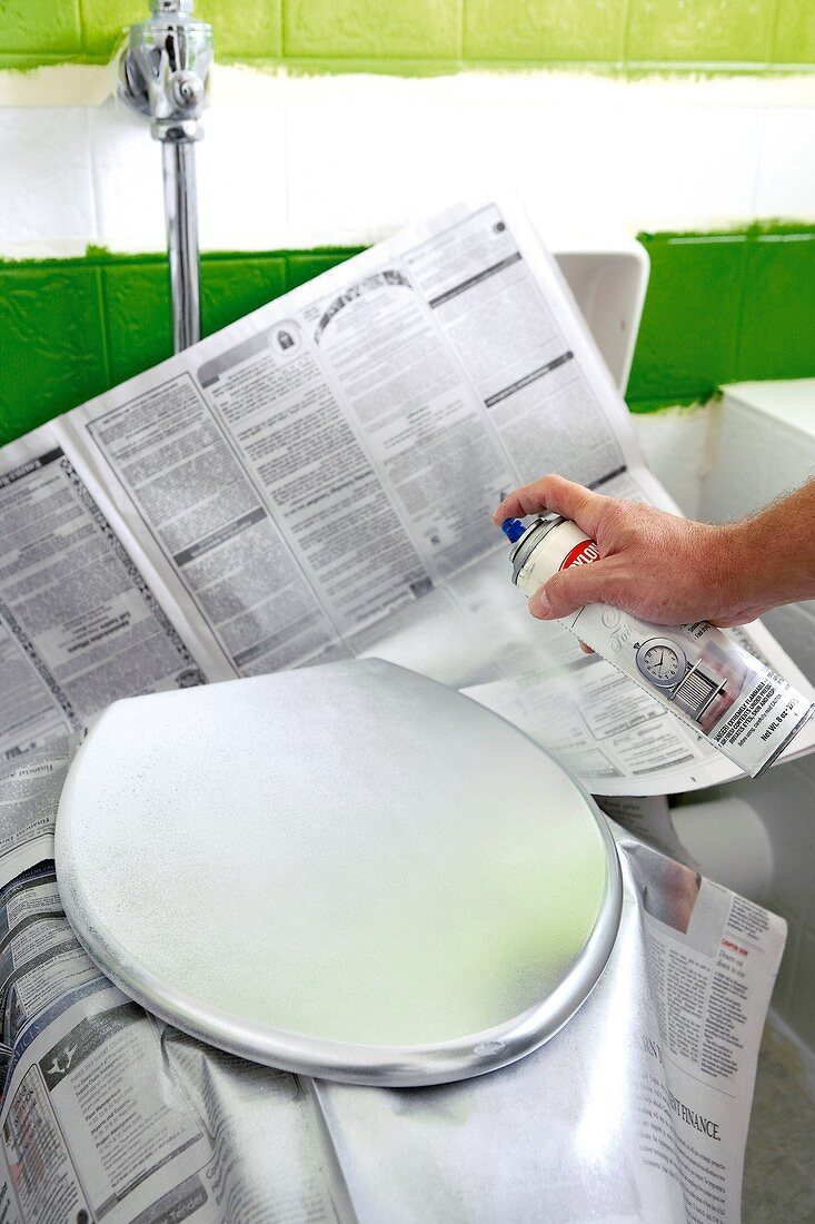 Spraying a toilet lid with silver paint