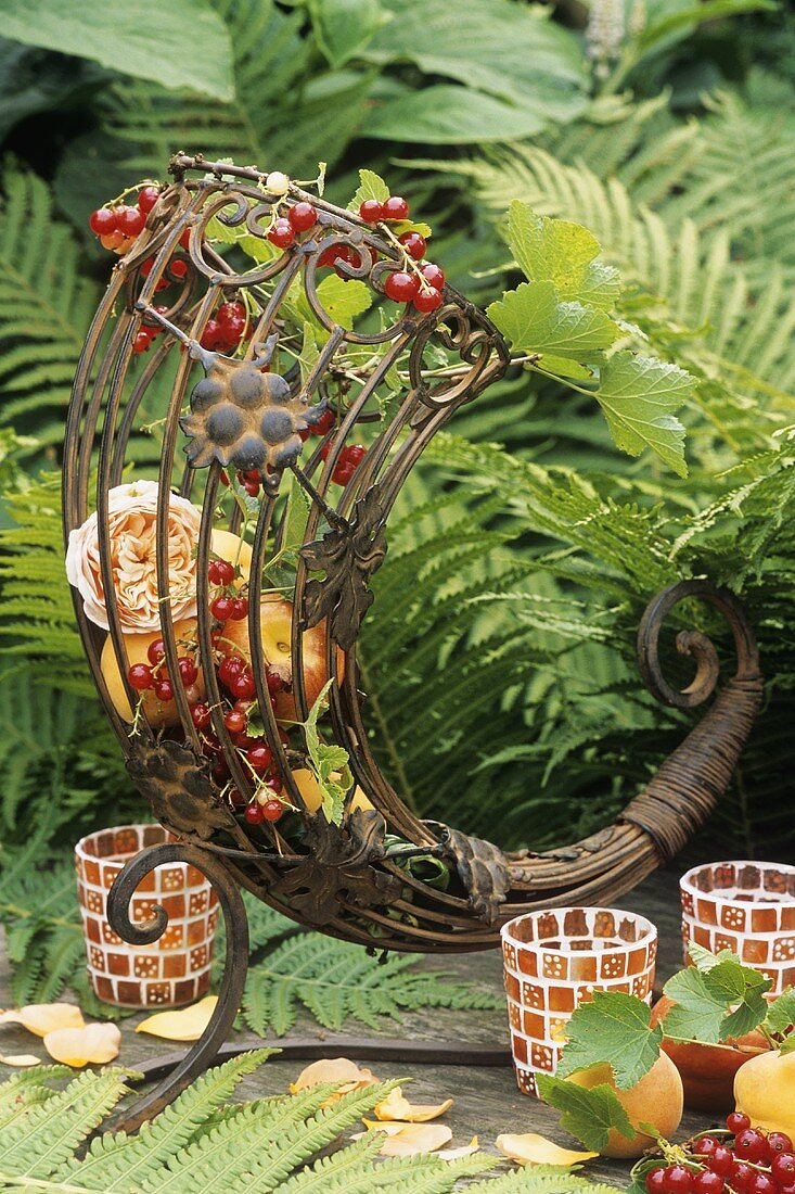 Metal cornucopia filled with apricots, redcurrants & roses