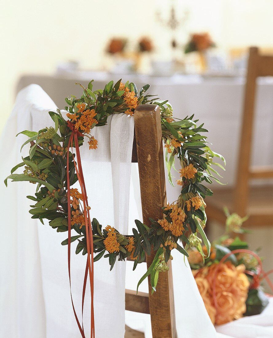 Asclepia wreath hanging on a chair
