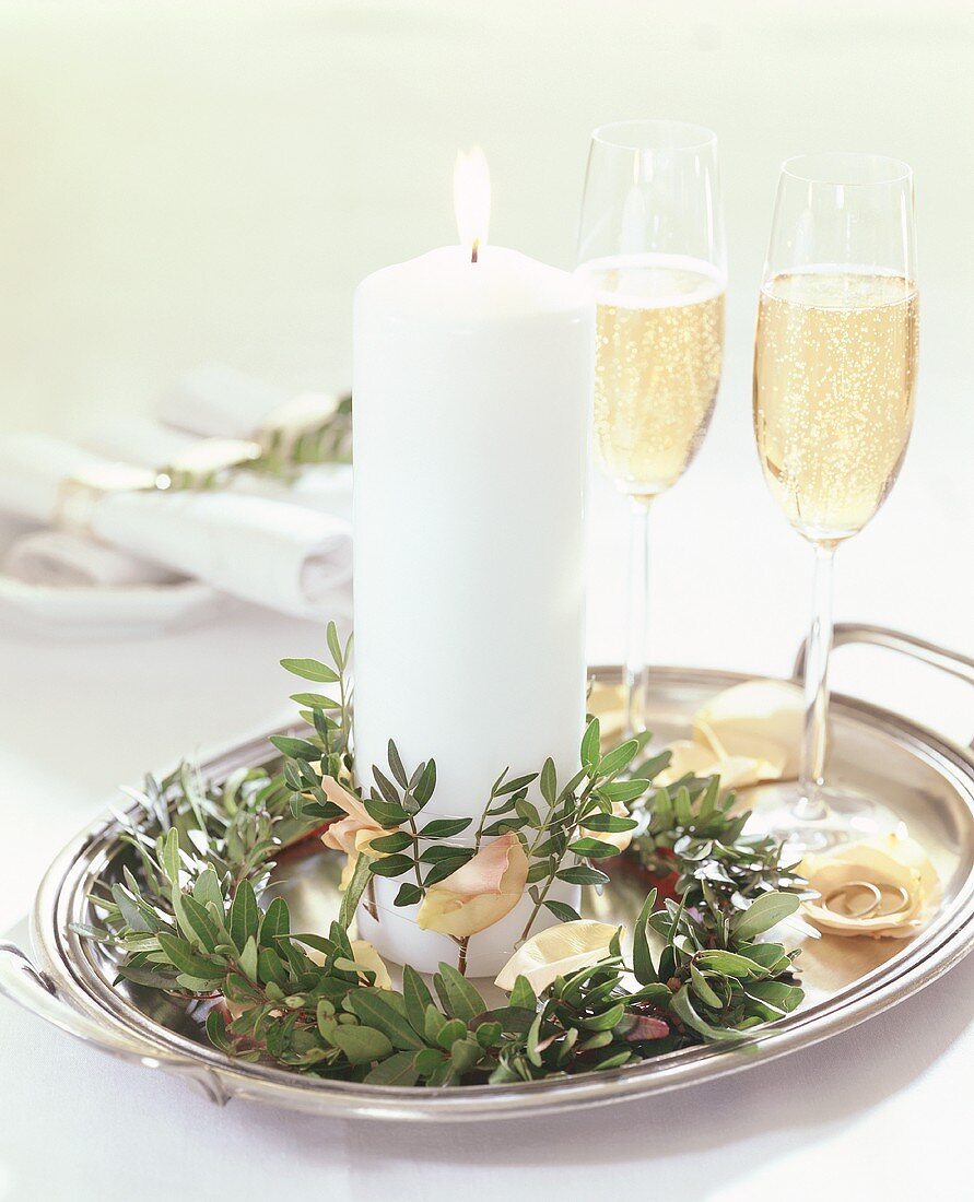 Candle with pistachio foliage & rose petals & champagne