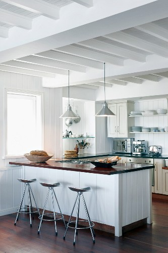 White Kitchen With Wood Beamed