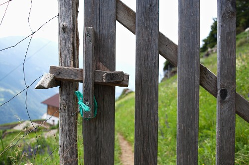 Wooden gate in wire fence in the Alps