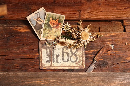 Cards with drawings of animals and carline thistle stuck behind house number sign next to horn-handled knife stuck in chalet wall