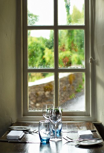 Table set for two below window