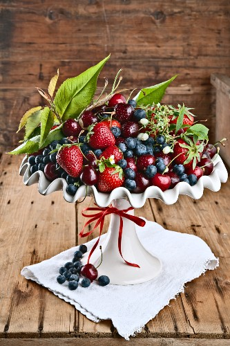 Dish of berries on wooden table