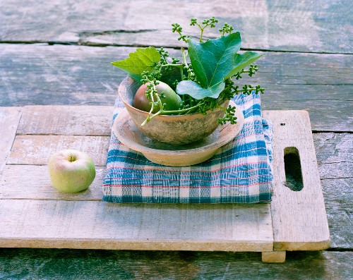 Apple, pear & ivy in bowls on table outdoors