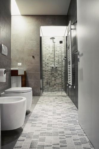 Monochrome bathroom with shower