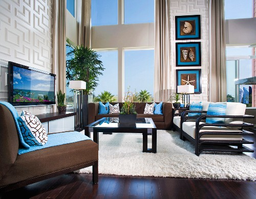 Modern living room with flatscreen television