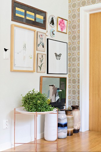 Gallery of pictures above house plant on side table and collection of traditional floor vases