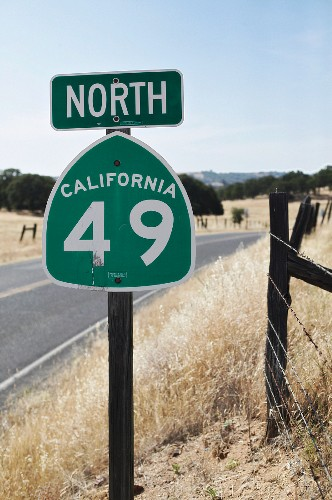 Traffic sign on road in California