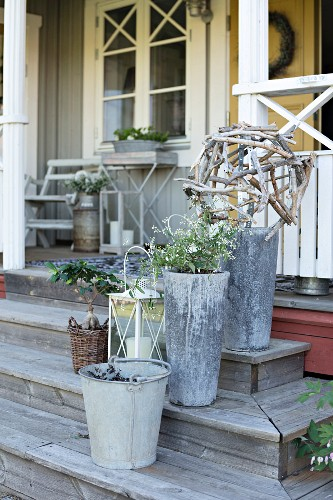 Planters and galvanised buckets on wooden steps leading to veranda