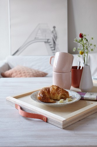 Hand-made breakfast tray with leather handle