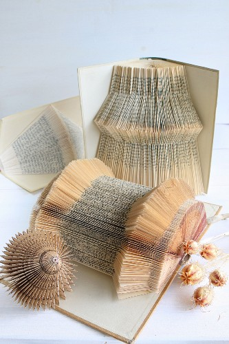 Ornaments hand-crafted by folding pages of old books