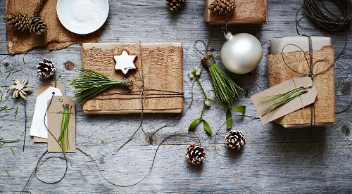 Natural gift-wrap ideas using bark, pine needles and cones