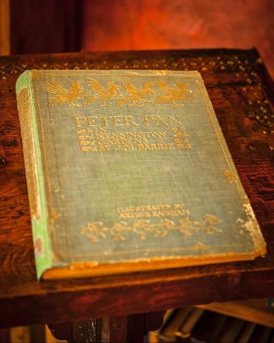 Antiquarisches Buch 'Peter Pan' mit Goldprägung