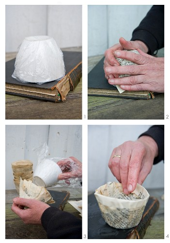 Making papier mâché bowls from pages of old books