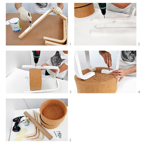 Instructions for making a side table from cork bowls and wooden frame