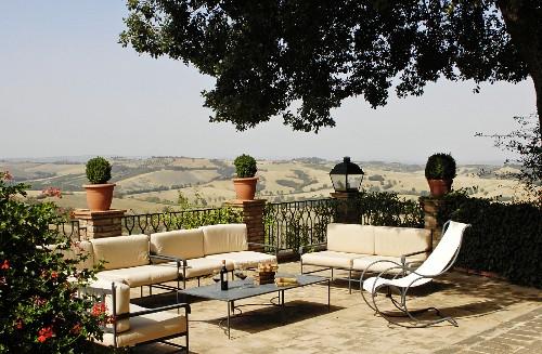 Metal furniture on Mediterranean with panoramic view