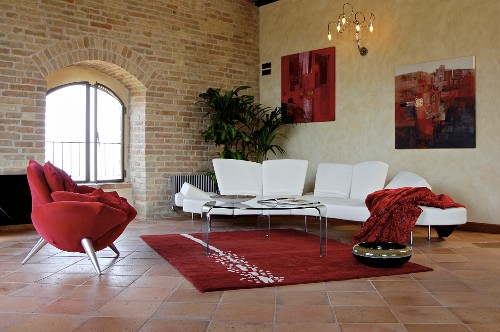 Living room with arched window in palazzo