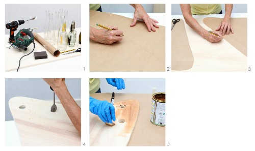 Instructions for making a picnic table from glass bottles and wooden boards