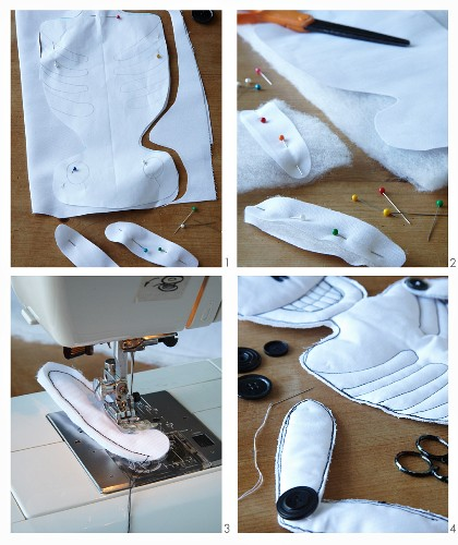 Instructions for hand-sewing a Halloween skeleton decoration