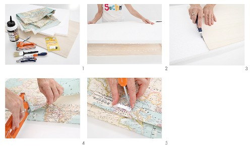 Instructions for making a headboard covered in a world map