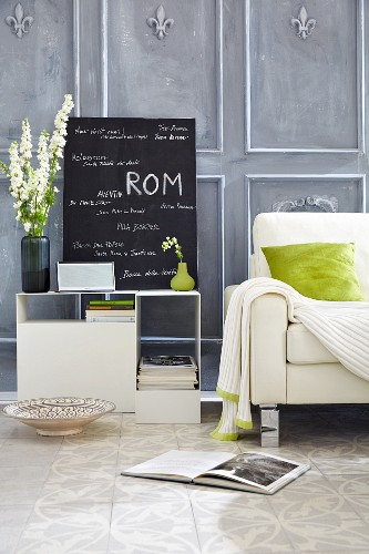 DIY wall panelling and chalkboard in living room