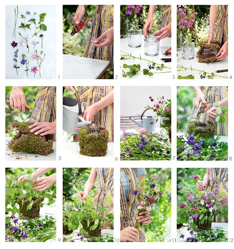 Instructions for making a vase from a glass container and moss