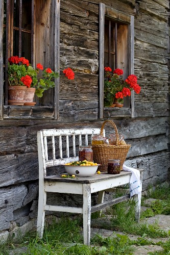 Fresh fruit in white metal bowl and basket on bench against facade of farmhouse
