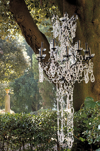 Chandelier decorated with crystal beads