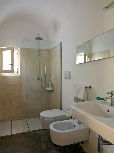 Designer bathroom with rustic atmosphere