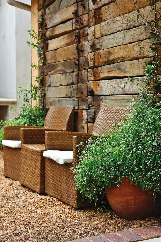 Outdoor furniture in a garden