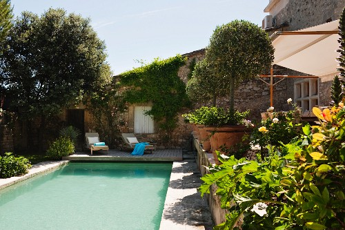 Pool and olive trees in terracotta pots in garden of Provençal stone house