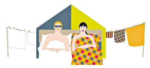 An illustration of a man and woman in bed with different bed linen