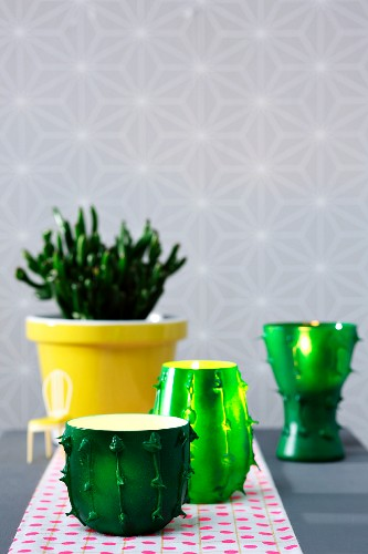 Tealight holders made from old glasses with cactus effect