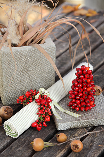 Napkin ring and small tower made of rose hips