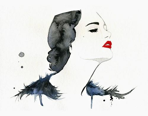 Elegant woman wearing red lipstick