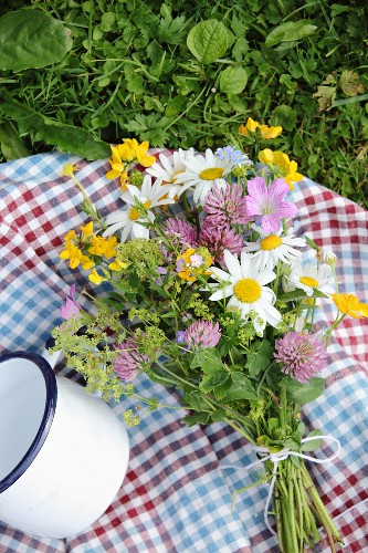 Checked picnic blanket, posy of wildflowers and white enamel mug on lawn