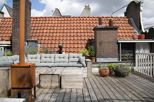 Bench and stove on roof terrace