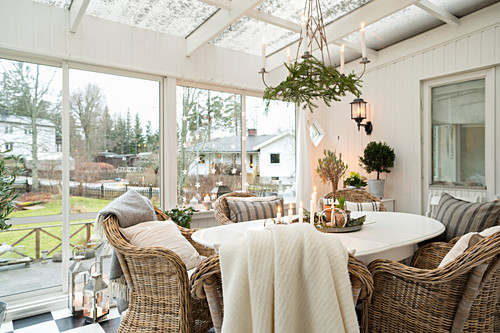 Festive decorations in cosy conservatory