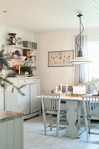 Vintage, Scandinavian-style dining room