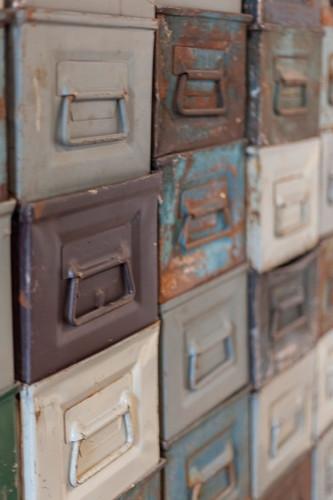 Battered old metal boxes from workshop