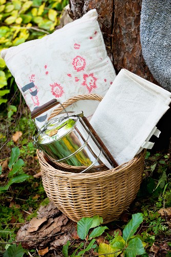Cushions, tablecloth and tiffin box in picnic basket