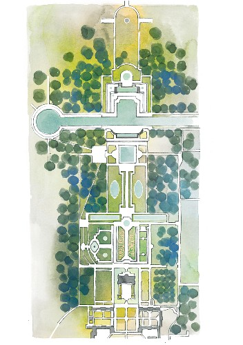 Illustration of a French-style garden (from the Vaux-le-Vicomte period)