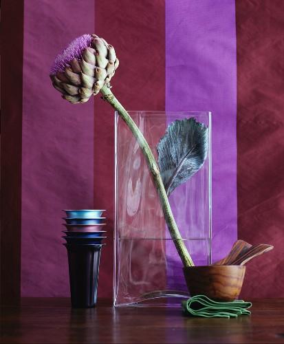 Artichoke flower in glass vase