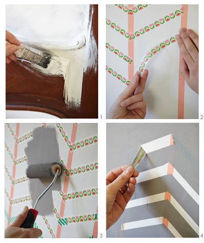 Hand-decorating the foot of a bed